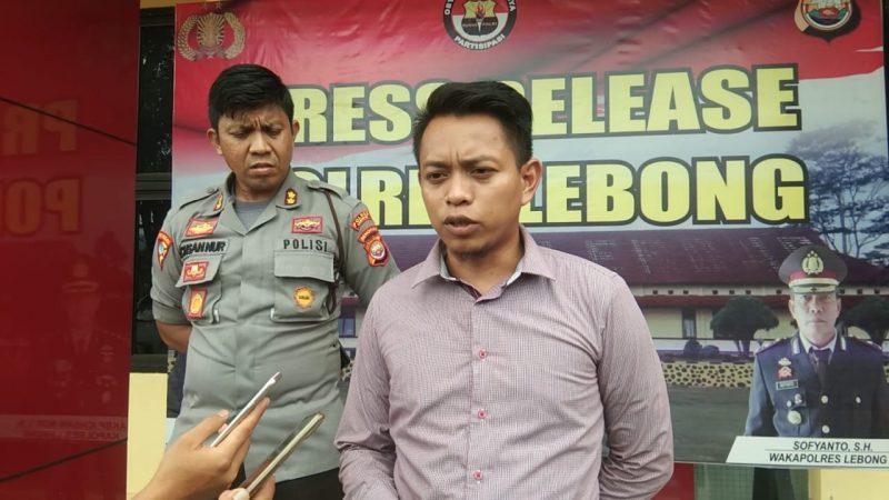 Kapolres Lebong AKBP Ichsan Nur SIk didampingi Kasat Reskrim Iptu Andi Ahmad Bustanil SIk saat memberikan keterangan pers
